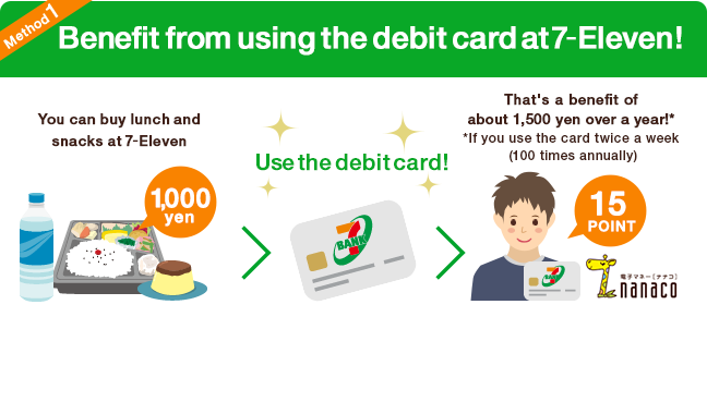 Method1 Benefit from using the debit card at 7‐Eleven!