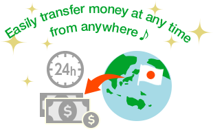 Easily transfer money at any time from anywhere ♪