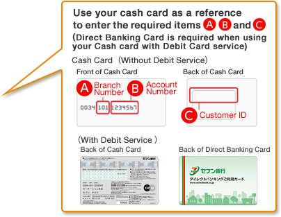 Use your cash card as a reference to enter the required items A, B and C.