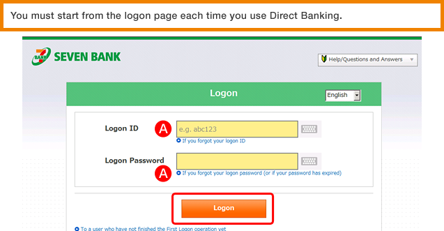You must start from the logon page each time you use Direct Banking.