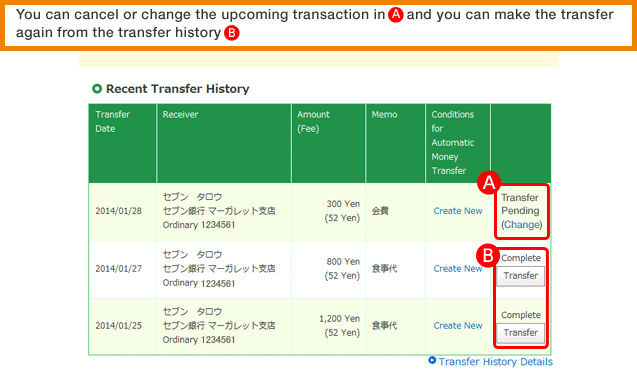 You can cancel or change the upcoming transaction in A, and you can make the transfer again from the transfer history B.