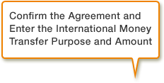 Confirm the Agreement and Enter the International Money Transfer Purpose and Amount