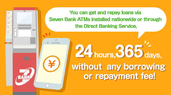 You can get and repay loans via Seven Bank ATMs installed nationwide or through the Direct Banking Service, 24 hours, 365 days, without any borrowing or repayment fee!