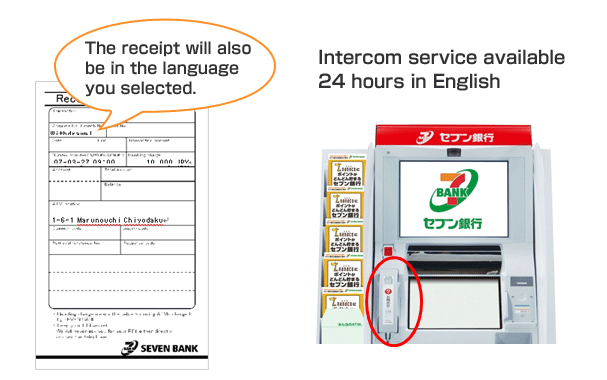 The receipt will also be in the language you selected. Intercom service available 24 hours in English