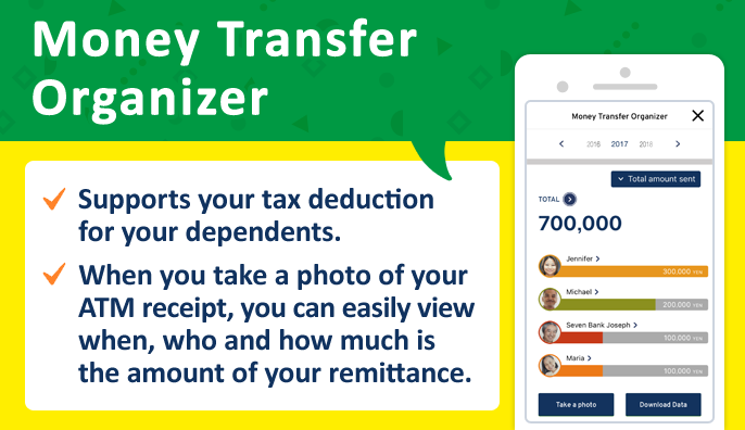 Money Transfer Organizer Supports your tax deduction for your dependents. When you take a photo of your ATM receipt, you can easily view when, who and how much is the amount of your remittance.