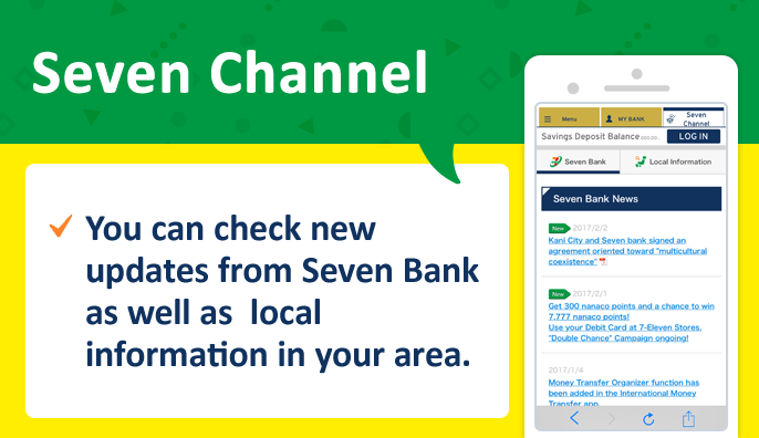 Seven Channel You can check new updates from Seven Bank as well as local information in your area.